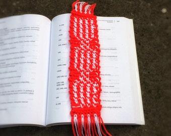 Crochet Bookmark Unique Handmade Ukrainian Folk Red White Fringe Teacher's Present