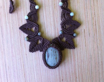 Agate hemp macrame necklace