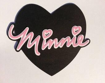 "Disney's ~ Minnie ~ Cricut heart cutout ~ Scrapbook ~ Decoration ~ 5"" ~  embellishment in pink"