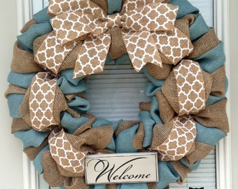Winter Burlap Wreath -  Winter Wreath  - Every day Burlap Wreath - Country Blue and Natural Burlap Wreaths, Wreath for All Year, Welcome Wre