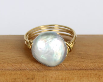 Shimmery Natural Light Grey Freshwater Pearl and Brass Wire Wrapped Ring in Choice of Size 7, 8, or 9