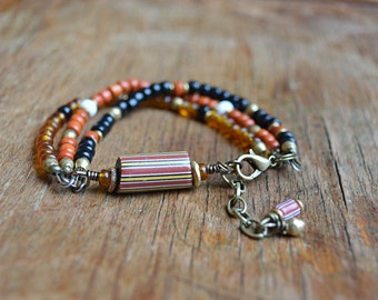 Mens trade bead bracelet with antique Venetian beads and brass