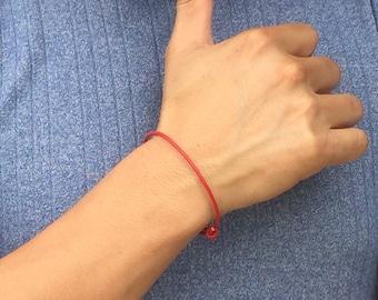 FREE SHIPPING-Mens Leather Bracelet,Red Leather Bracelet,Simple Leather Bracelet,Mens Cord Bracelet, Bracelets For Men, Mens Accessories