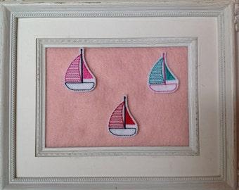 Sailboat feltie , custom colors , your choice