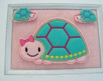 Turtle Feltie, Two Colors Your Choice  2 Sizes and Oversize Available Always Precut, Also Available as Bow Keeper