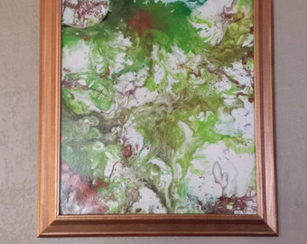 Psychedelic original Bright green fluid painting