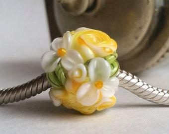European Charm Bead, Large Hole Bead  -  Sunny Yellow Cottage Rose Garden by Sabrina Koebel Handmade Lampwork Beads