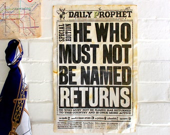 Daily Prophet frontpage - He Who Must Not Be Named Returns