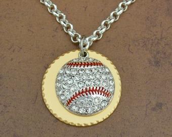 Baseball Gold Disk Necklace
