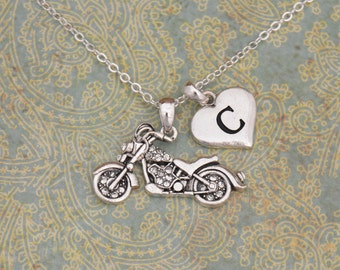 Custom Initial Motorcycle Necklace - 48226IN