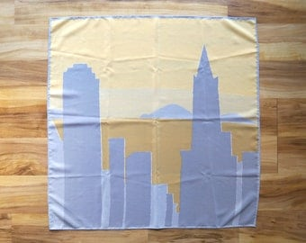 Vintage Vera Neumann Cityscape Silk Scarf in Yellow and Gray