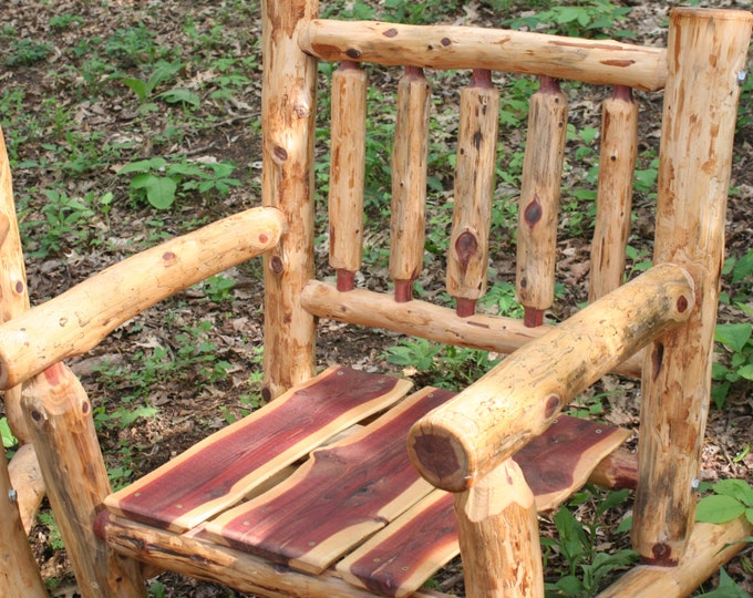 Eastern Red Cedar Log Spindle Back Patio Chair   Rustic Patio Chair  Log  Outdoor Chair