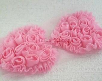 PINK Chiffon Hearts, Pink Chiffon Heart Trim, Shabby Chiffon Hearts, Wholesale Craft, Trim, DIY Headband Supplies,