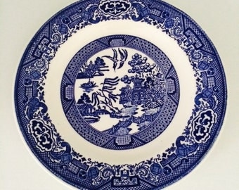 Willow Ware by Royal China Blue and White Plate