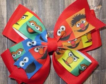 Sesame Street Hair Bow / Sesame Street Bow / Elmo Bow /Oscar the Grouch Bow / Cookie Monster Bow / Bert and Ernie Bow