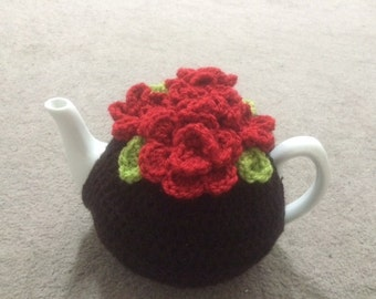 Tea cosy for a medium or large teapot (4 to 6) or (6 to ) cups cozy handmade crochet teapot cover cosie