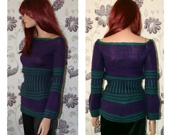 Purple & Green Corset Jumper [Fitted/Double Knit]