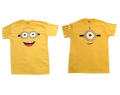 Adult size despicable me minion T-shirts one eyed minion and two eyed minion
