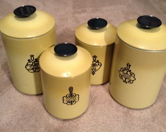 Metal Canisters - West Blend Set of Four Nesting Canisters - Flour, Sugar, Coffee and Tea