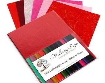 """Mulberry Kozo Paper in 6 Red and Pink Shades for Arts, Crafts and Scrapbooking (24 Sheets of 8.5"""" x 11"""" Paper) - Light Weight"""