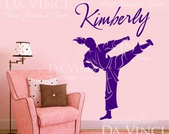 Karate Taekwondo Martial Arts Decal Custom Girl Name Wall Personalized Vinyl Sticker Decor