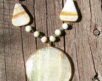 Vintage Mexican Onyx Etched Pendant Necklace
