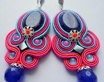 Soutache Earrings with Lapis Lazuli