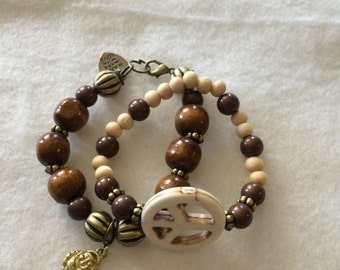 Brown Wooden Beaded Bracelet with Buddha and Peace Charm Stack