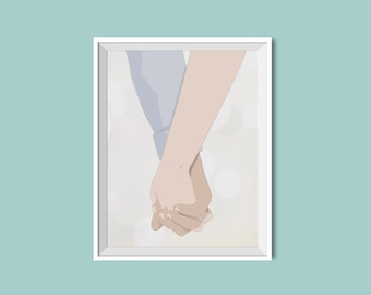 Holding Hands Art Print / For Weddings / New couple / Love  / Illustrated Wall Art / 8x10 Eco Friendly Recycled Paper / AP01