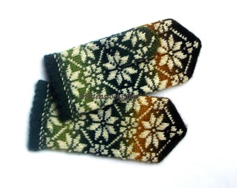 Green Yellow Brown White Hand Knitted Mittens Green Yellow Hand Knitted Gloves Wool Mittens Winter Gloves Warm Women's Mittens with Pattern