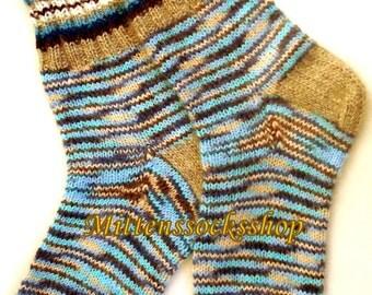 Knitted socks Angora melange colors wool socks Hand knit socks Warm socks Winter socks Striped socks Women's socks Girl's socks Men's socks