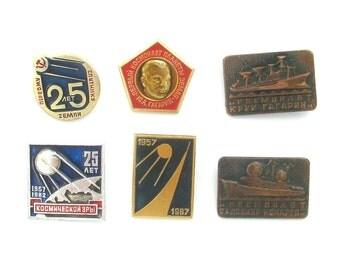 Space, Vintage badge, Satellite, Yuri Gagarin, Pick from set, Ship, Soviet Vintage Pin, Vintage metal collectible Badge, Made in USSR