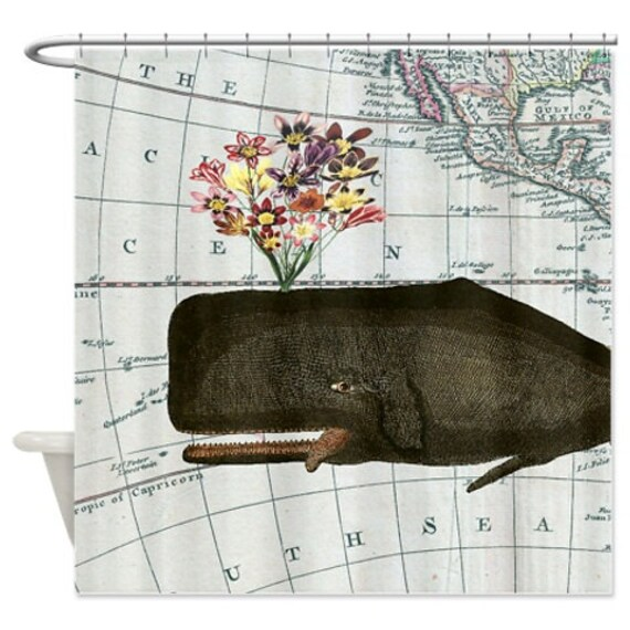 Happy vintage whale and flower vintage map sea animal shower curtain
