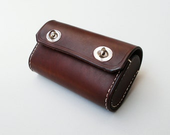 Bicycle Leather Seat Bag, handstitched genuine leather, waxed thread, nickel plated fittings,