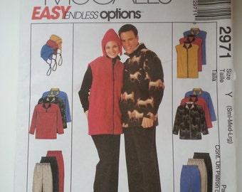 Ski jacket /Winter / zipper vest /elastic waist pants / hat/ unisex  2000 sewing pattern, Bust chest 31 32 34 36 38 40, Mccalls M 2971