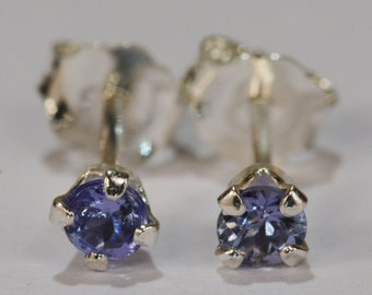 Tanzanite Earrings~.925 Sterling Silver Setting~3mm Round Cut~Genuine Natural Mined