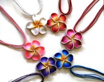 Handmade Flower Polymer Clay Necklace. Adjustable Necklace, Hibiscus Necklace, Plumeria Necklace, Frangipani Flower Neckalce