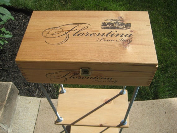 Items similar to End Table with Shelves, Wood Wine Box Top with Industrial  Metal Rods on Etsy