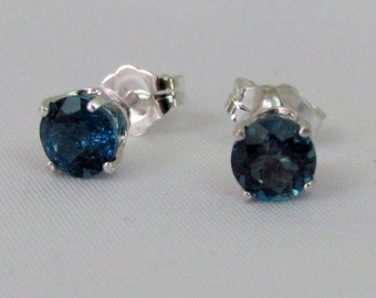 London Blue Topaz Stud Earrings, Sterling Silver, 5mm London Blue Gemstone, December Birthstone Gift, Topaz Jewelry, Blue Gemstone Earrings