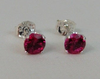 Ruby Post Earrings in Sterling Silver, Ruby Jewelry, Bride Earrings, Ruby Stud, Ruby Lab Created Gemstone, July Birthstone