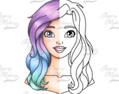 FAY, Digital Stamp, portrait style, cute girl with soft wavy hair