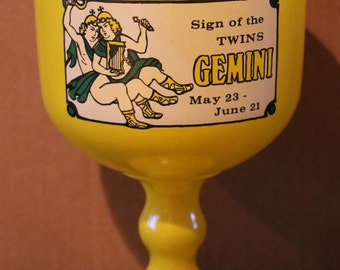 Ultra Cool Vintage Bright Yellow Glass Gemini Goblet/Planter