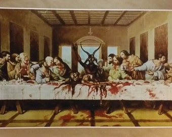 """Satanic Last Supper GIANT WIDE Size 42"""" x 24"""" Poster Atheist Jesus 666"""