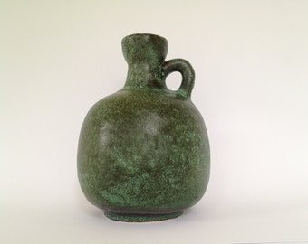Ruscha  333 handled mat green vase vintage Mid-Century Modern Pottery  1970s  West Germany.