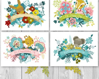 Greeting Card Set, Greeting Card, Congratulations Card, Flower Greeting Card, Blank Card, Floral Stationery, Birthday Card, Baby Shower Card