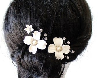 Bridal Flower Hair Pin, White Dogwood Hair Pins, Bridal White Hair Flowers, Hair Pins, Wedding Hair Accessories, Bridal Headpiece
