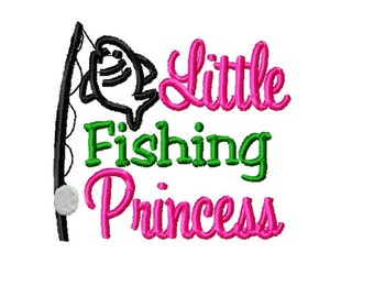 Embroidered Baby Girl Bodysuit Onezie - Little Fishing Princess