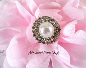 Ivory Pearl/Clear Rhinestones Flower Button - Rhinestone Button - Acrylic Rhinestone - Garments/Hair Accessory - 20 mm