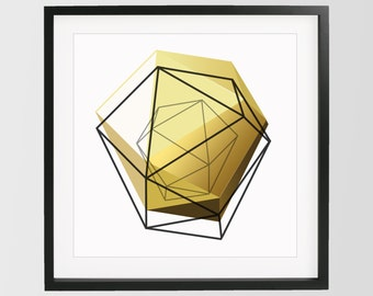 Yellow Gold Geometric Print, 3D Art, Geometric Art Home Decor, Minimalist Print, Yellow Wall Art, Gold, Black, Modern Art, Abstract Wall Art