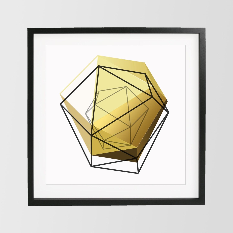 Geometric Home Decor: Yellow Gold Geometric Print 3D Art Geometric Art Home Decor